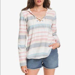 Roxy Hooded Long Sleeve Striped Poncho Shirt